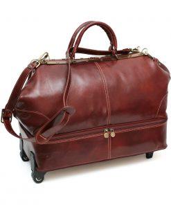 maleta de viaje en piel con ruedas naturales