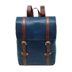 mochila de cuero unisex azul marino marron