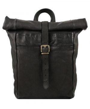 mochila piel diseño italiano negro