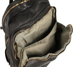 Mochila en piel lavada pequeña bolsillo