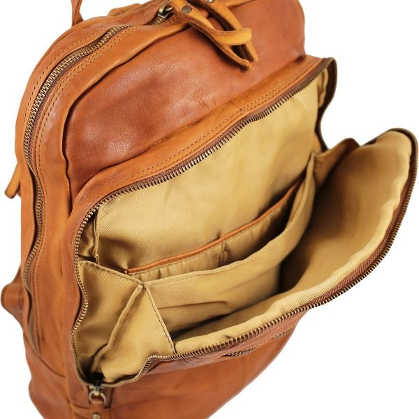 Mochila en piel lavada pequeña mochila cuero italiano