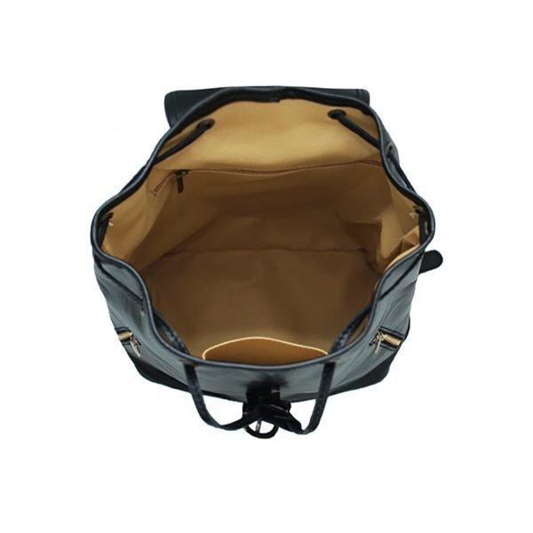 Mochila piel grande italiana negro interior