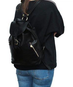 Mochila piel grande italiana negro outfit chica