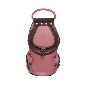 bolso mochila rosa piel de mujer