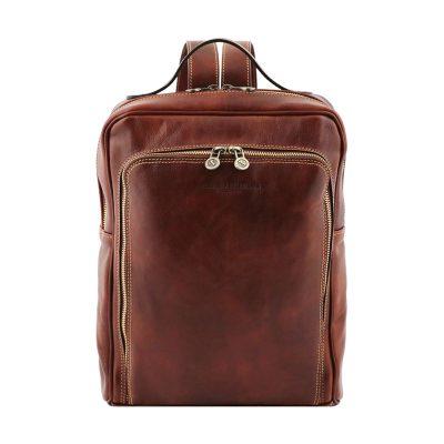 mochila de cuero marron