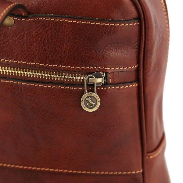 mochila de cuero marron firenze