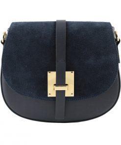 bolso bandolera en piel azul marino
