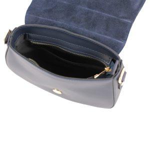 bolso bandolera en piel azul marino interior
