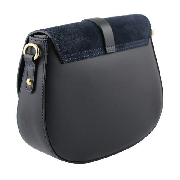 bolso bandolera en piel azul marino trasero