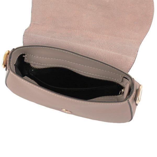 bolso bandolera en piel color rosa empolvado interior