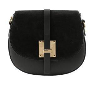 bolso bandolera en piel negro mujer