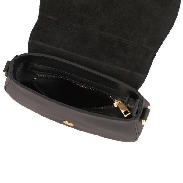 bolso bandolera en piel negro mujer interior
