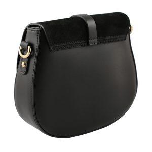 bolso bandolera en piel negro mujer trasera