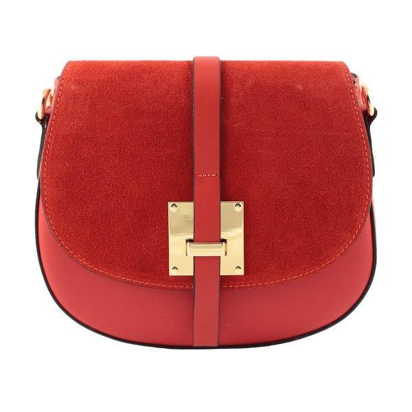 bolso bandolera mujer piel rojo