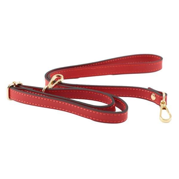 bolso bandolera mujer piel rojo correas