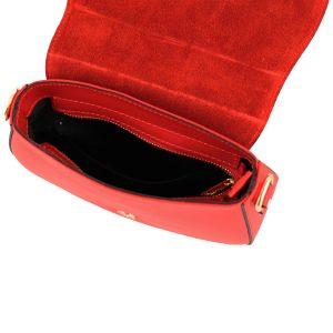 bolso bandolera mujer piel rojo interior