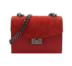 bolso de mano bandolera de piel rojo