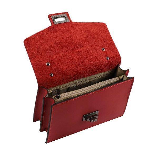 bolso de mano bandolera de piel rojo interior