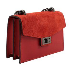 bolso de mano bandolera de piel rojo lateral