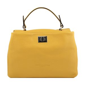 bolso de piel italiano amarillo