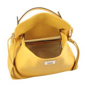 bolso de piel italiano amarillo interior