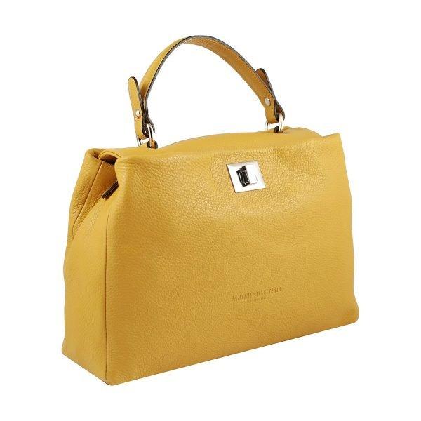 bolso de piel italiano amarillo lateral