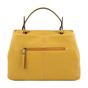 bolso de piel italiano amarillo trasera