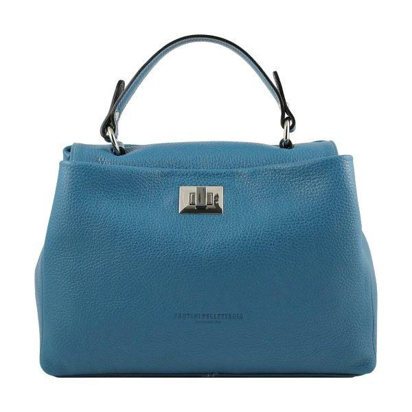 bolso de piel italiano azul celeste
