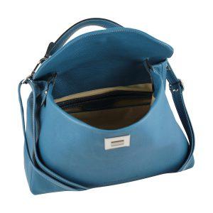 bolso de piel italiano azul celeste interior