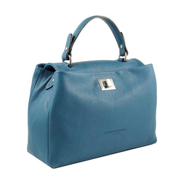 bolso de piel italiano azul celeste lateral