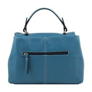 bolso de piel italiano azul celeste trasera