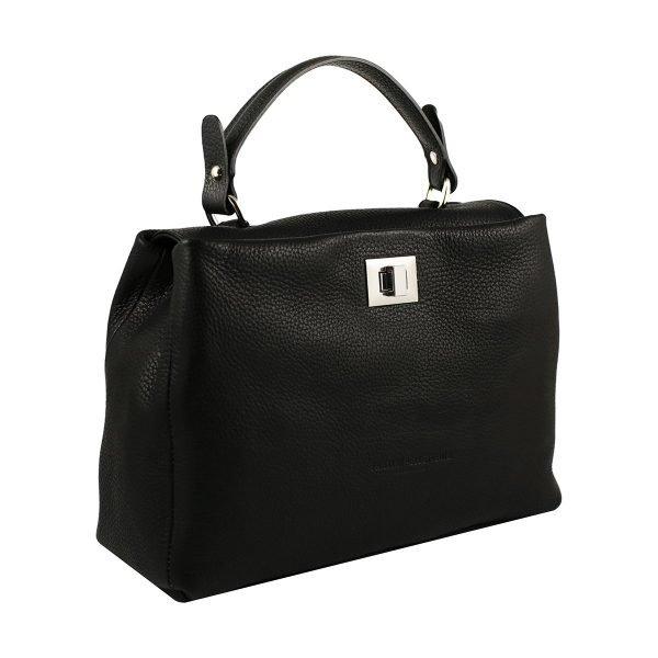 bolso de piel italiano negro lateral