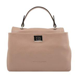 bolso de piel italiano rosa