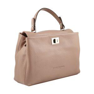 bolso de piel italiano rosa lateral