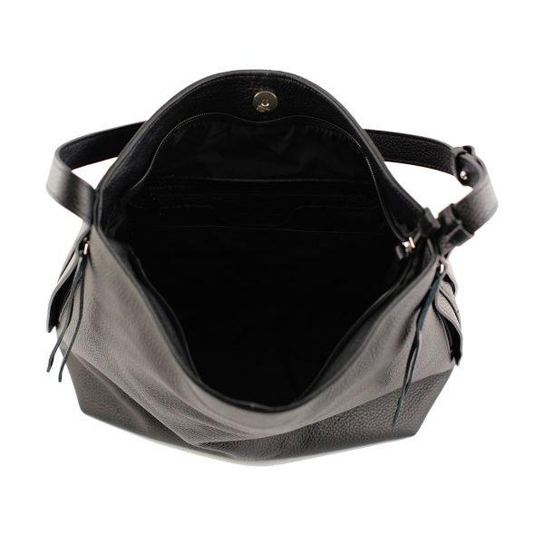 bolso de piel martillada mujer negro interior