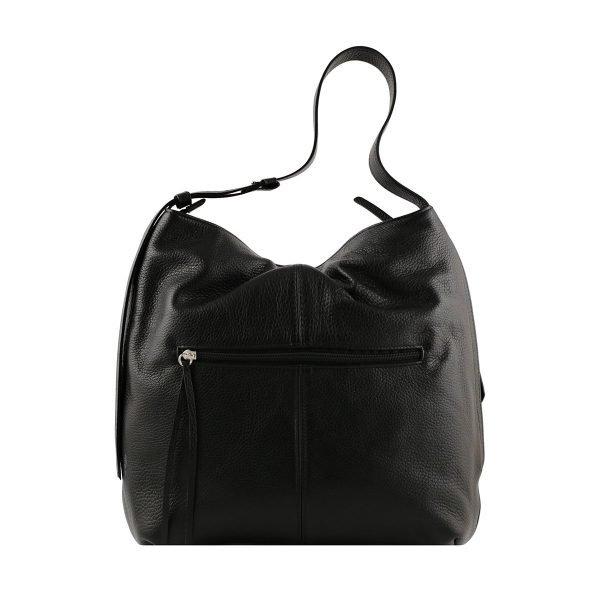 bolso de piel martillada mujer negro trasera
