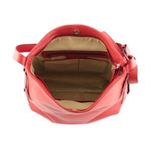 bolso de piel martillada mujer rojo lateral