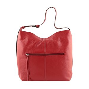 bolso de piel martillada mujer rojo trasera