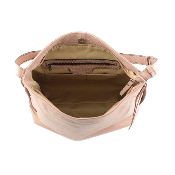 bolso de piel martillada mujer rosa interior