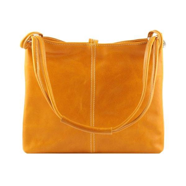 bolso de piel color mostaza mujer moda