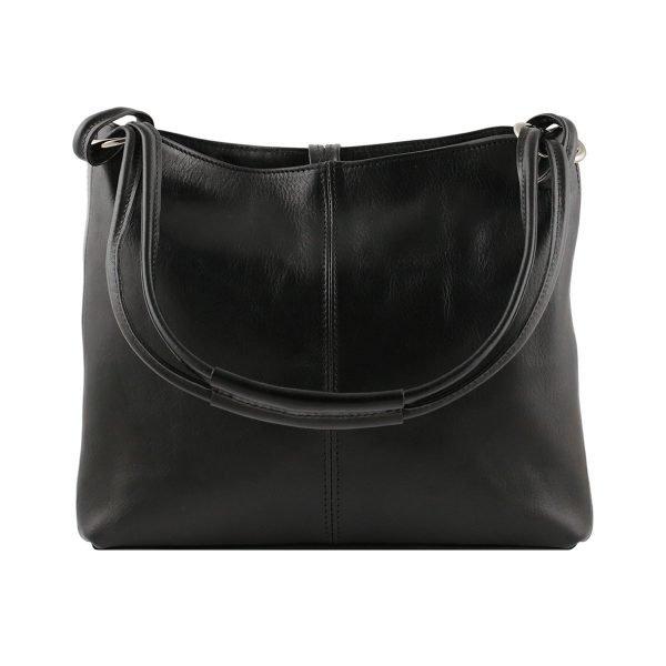 bolso de piel negro mujer moda