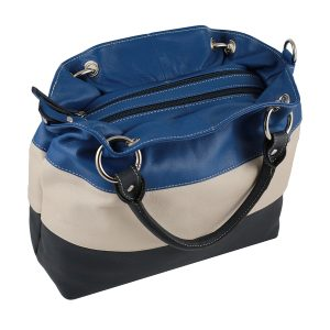 bolso de piel para mujer azul marino cremallera