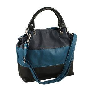 bolso de piel para mujer azul marino cremallera moda