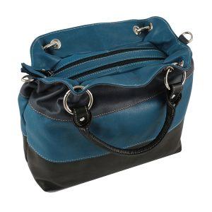 bolso de piel para mujer azul marino moda cuero
