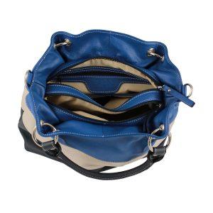 bolso de piel para mujer color azul interior