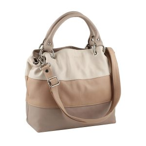 bolso de piel para mujer color beige correas