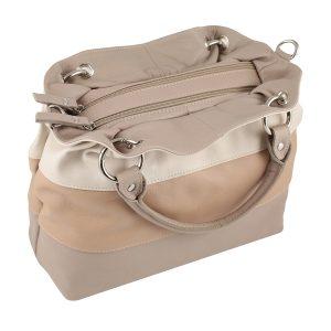 bolso de piel para mujer color beige cremallera