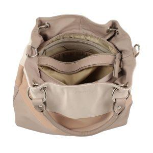 bolso de piel para mujer color beige interior