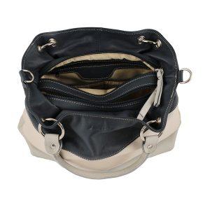 bolso de piel para mujer gris interior