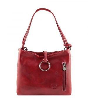 bolso de piel rojo mujer